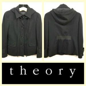 Theory Aundria black hoodie blazer/jacket